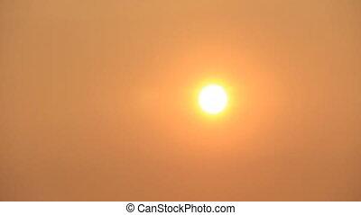 Hot summer - Hot sun disk on the warm orange sky