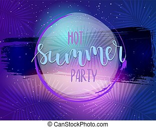 Hot summer party horizontal poster