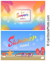 Hot Summer Party Summertime Mood Poster Beach Set