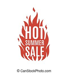 Hot summer sale banner. Simple fire icon. Vector illustration.