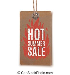Hot summer sale. Realistic, vintage label.