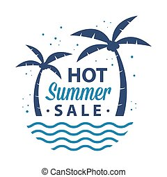 Hot Summer Sale Sign With Palm Trees And Waves
