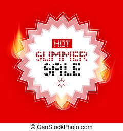 Hot Summer Sale Vector Background with Flames
