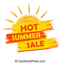 hot summer sale with sun sign, yellow and orange drawn label...