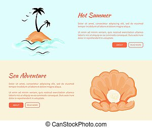 Hot Summer Sea Adventures Web Banners with Island