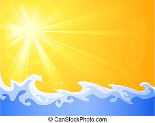 Hot summer sun and cool relaxing wa - Asymmetric sunny light...
