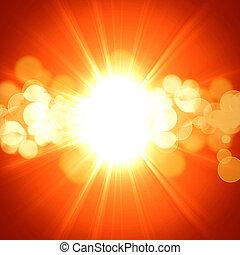 Hot summer sun on an orange background