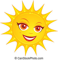 Hot Summer Sun - Vector cartoon illustration of a hot ...