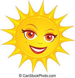 Hot Summer Sun - Vector cartoon illustration of a hot ...