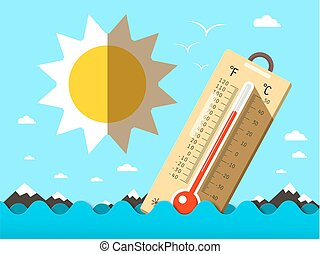 Hot Summer Temperature. Thermometer in Sea Waves. Vector Flat Design Cartoon.