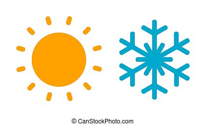 Hot sun and cold snowflake icon.