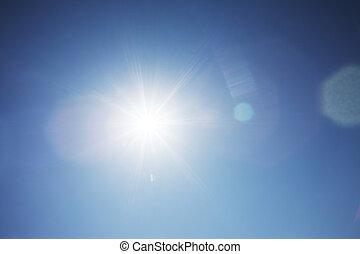 Hot sun background - Hot sun shining over blue sky