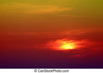 hot sunset on amazing sky back evening clouds over twilight