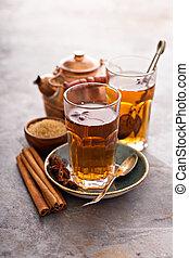 Hot sweet tea with cinnamon