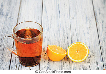 hot tasty tea and orange