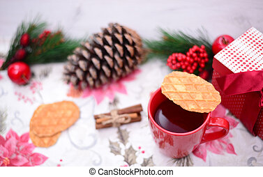 Hot tea and christmas cookies