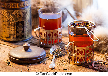 Hot tea brewed in the old style