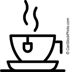 Hot tea cup icon, outline style