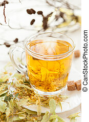 hot tea flavored with lime flowers, healthy drink