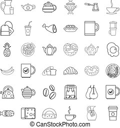 Hot tea icons set, outline style