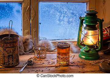 Hot tea in cold winter day