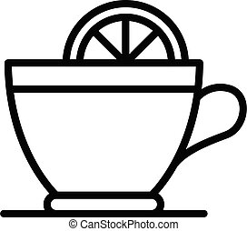 Hot tea lemon cup icon, outline style