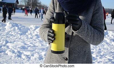 hot tea people skate snow