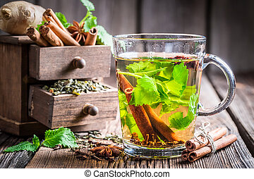 Hot tea with cinnamon and cloves