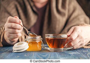 Hot tea with honey