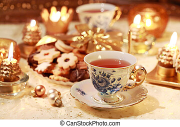 Hot tea with sweet cookies