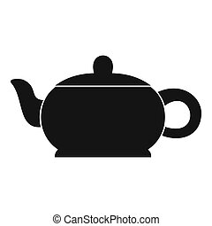 Hot teapot icon, simple style