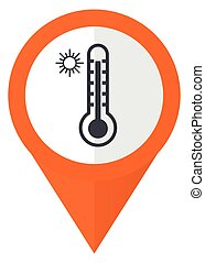 Hot temperature orange pointer vector icon in eps 10 isolated on white background.