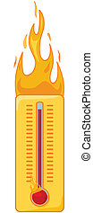 Cartoon illustration of a thermometer on fire to show it's too hot