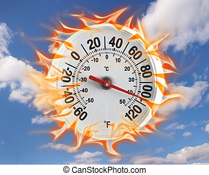 Hot thermometer - Thermometer on fire with a blue sky...