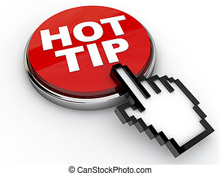 Hot Tip Button with cursor hand over white background