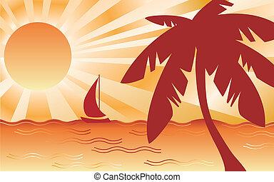 Hot Tropical Landscape - Tropical beach landscape with palm...