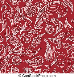 Hot Tropical Outline Vector Pattern