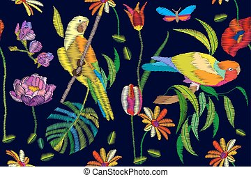 Hot tropical summer. Seamless vector pattern with embroidered texture.
