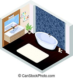 Hot Tub Bathroom Interior - Bathroom isometric interior...