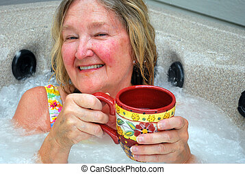 Hot tub. - Female in her hot tub.