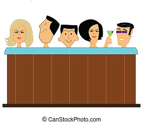 couples and a single male in hot tub in sixties style