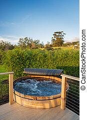 Hot tub jacuzzi - Beautiful wooden hot tub jacuzzi outdoors ...