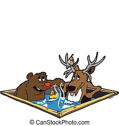 Hot tubbin critters - bear and a deer sitting in a hot tub