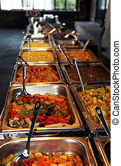Hot vegetables on a catered buffet - Long row of hot ...