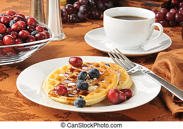 Hot waffles with berries