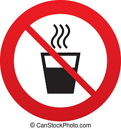 Hot water sign icon. Hot drink symbol. - Hot water sign...