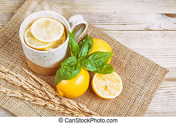 Hot Water with lemon and basil (Vintage faded filter)