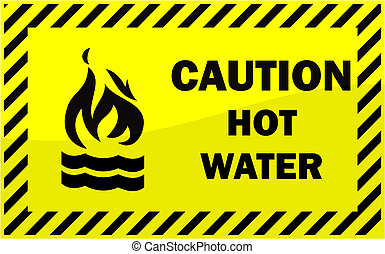 Yellow caution sign Hot water