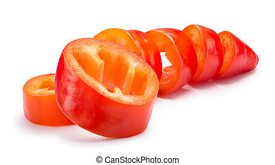 Sliced orange Hungarian Hot Wax pepper or paprika (Capsicum annuum). Clipping paths, shadow separated