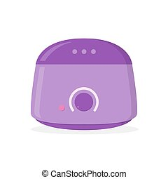 Hot wax warmer isolated on white background. Device for removal hair. Flat design. Vector illustration.